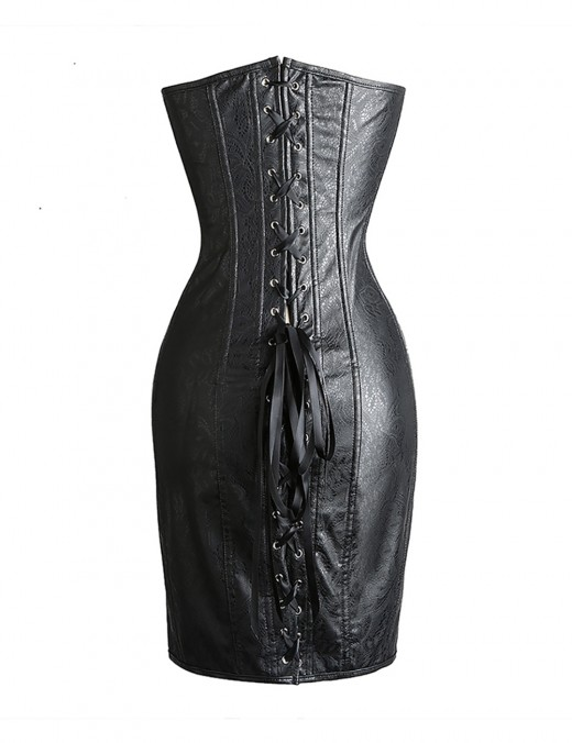 Wet Look Jacquard Leather Corset Dress Hourglass Shape Lace-Up