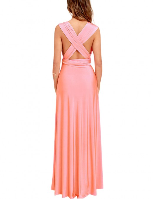Premium Pink Cheap Long Prom Dresses Convertible Wide Straps
