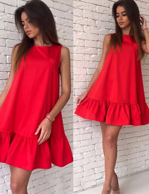 Soft Red Big Size Mini Ruffled Dress Solid Color Fashion Shop Online