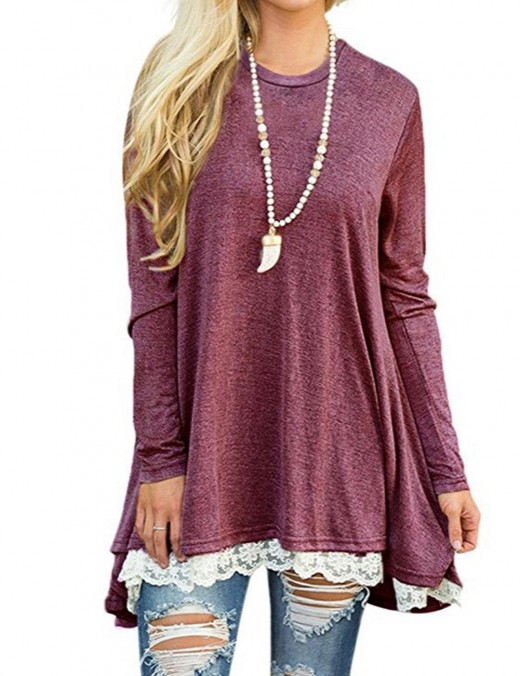 Leisure Wine Red Splice Full Sleeve Tops Lace Hem Distinctive Look