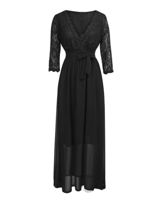 Loose Fit Black Cross Wedding Dress Lace Stitching Outdoor