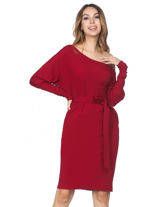 Unique Wine Red Puff Sleeve Dress Sash Shoulder Buckle Seamless