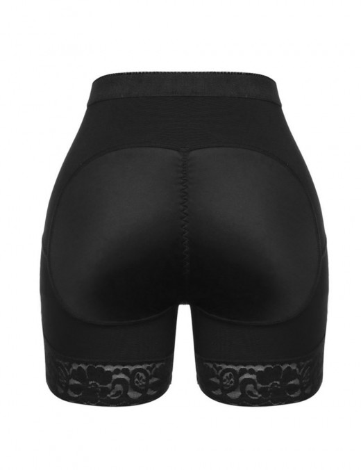Waist Control Black Large Size Butt Lifting Panty Lace Hem Tight Fit