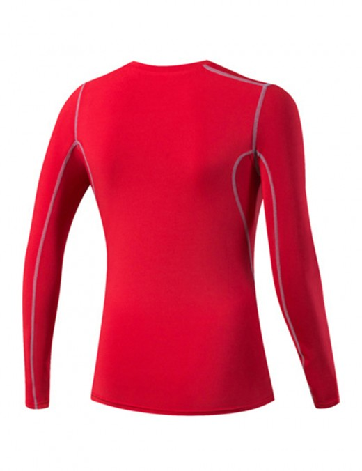 Elastic Red O Neckline Tight Sports Shirts Plain Activewear