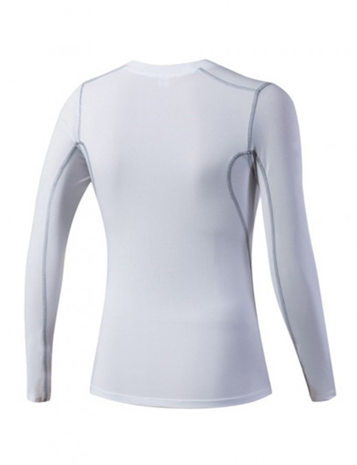 Entrancing White Pure Color Exercise Tops Full-Sleeved Superior Quality