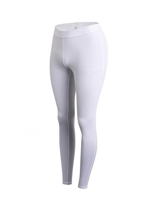 White Ankle Length Tight Sports Pants Pure Color Workout