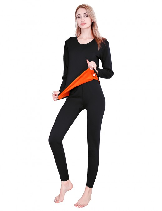 Fitness Black Thicken Thermal Underwear Plus Size Round Color Super Comfort
