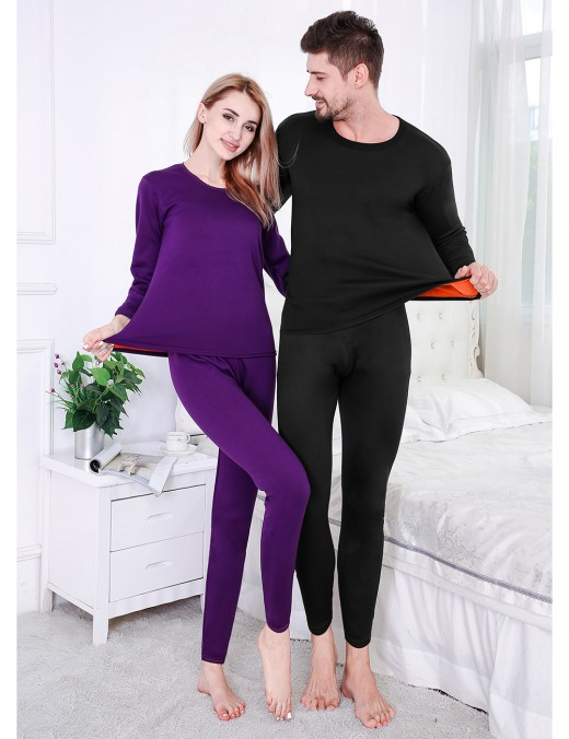 Ethereal Black Queen Size Men's Thermal Underwear Thicken Super Comfortable