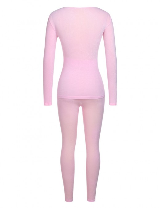 Stretch Pink Ribbed Thermal Underwear Full Length Fashion Design