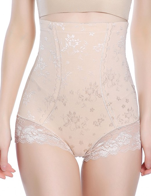 Firm Control Nude Large Size Lace Flower Butt Lifter High Waist Perfect-Fit