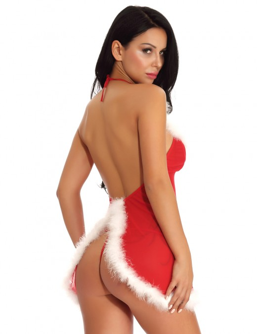 Fine Red Faux Fur Babydoll Backless Christmas With Thong Smooth Fabric