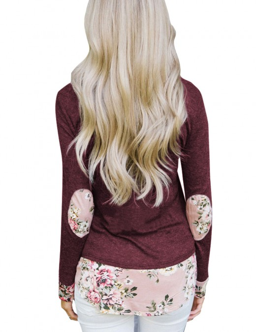 Modest Dark Red Printing Shirts With Pocket Patchwork For Playing
