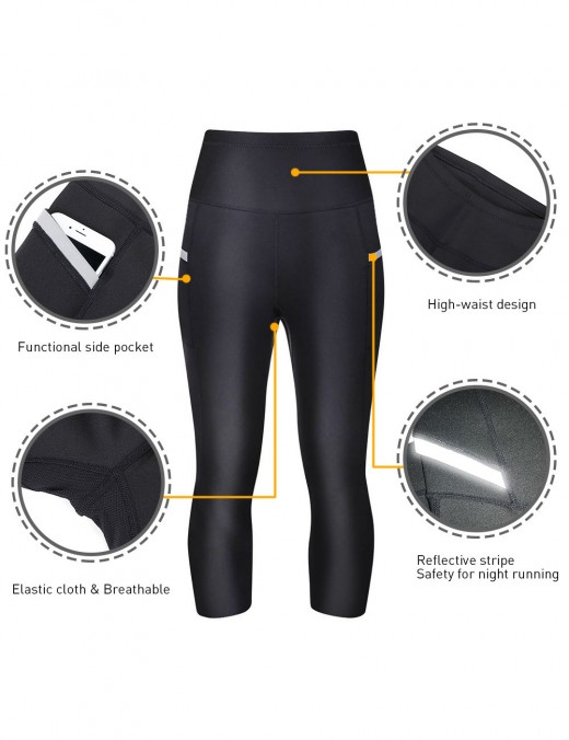 Ultimate Stretch Black Big Size Reflective Neoprene Legging High Waist
