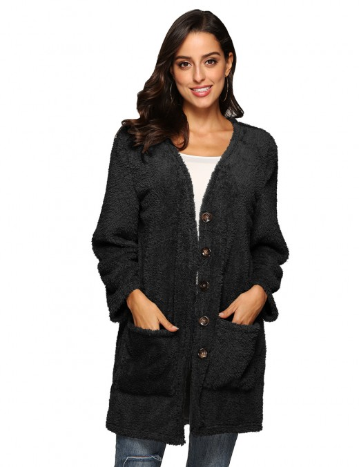 Explorer Black Thicken Long Sleeved Coat Plush Button Super Sexy