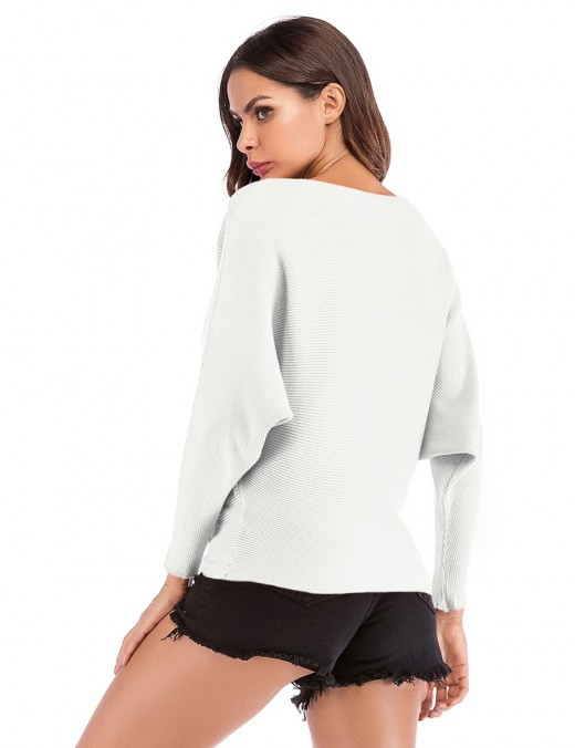 Fad White Rhinestone Sweater Full Bat Sleeves Pure For Holiday