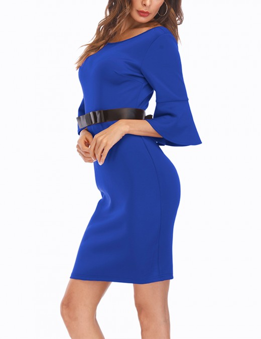 Casually Blue Removable Belt Bodycon Dress 1/2 Sleeves Ultra Hot