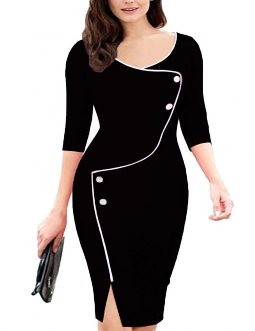 Incredible Black Big Size Midi Bodycon Dress Invisible Zipper Breath