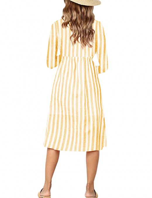 Flowing Yellow Decorated Button Down Midi Dress With Pocket Sheath