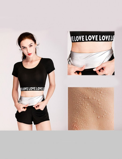 Comfortably Black Large Size Sauna Sweat Belt Nano Silver Film Basic Shaping