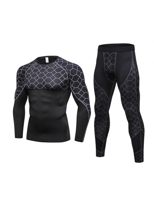 Fantasy Full Sleeved Men's Training Tops Grid Printing Women