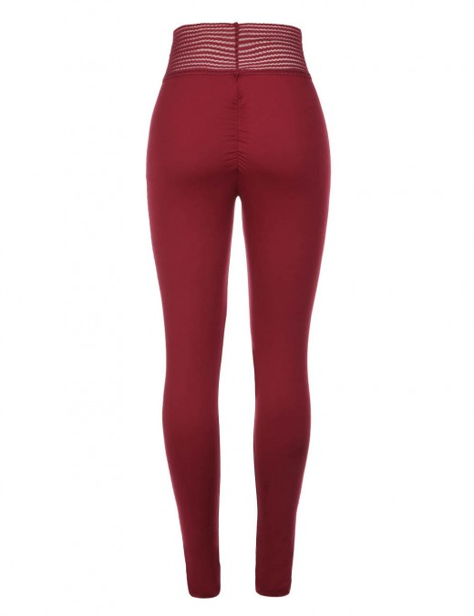 Sensual Silhouette Wine Red Wide Waistband Butt Lift Tights Mid Rise Athletic Comfort