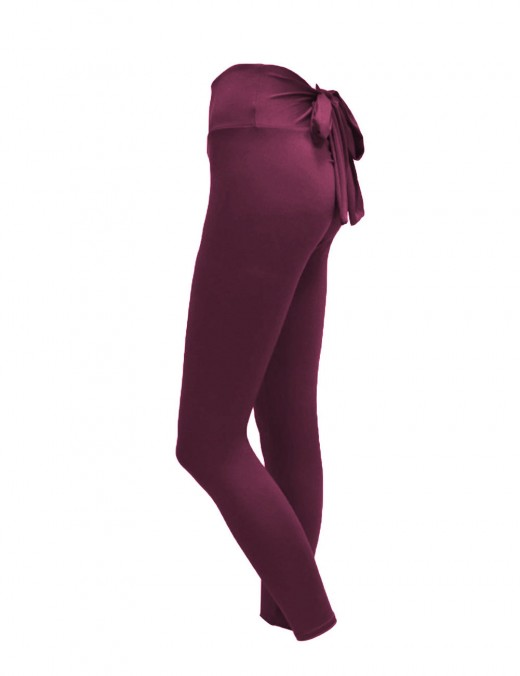 Svelte Wine Red Adjustable Bowknot Mid Rise Tights Hip Lift Stretch