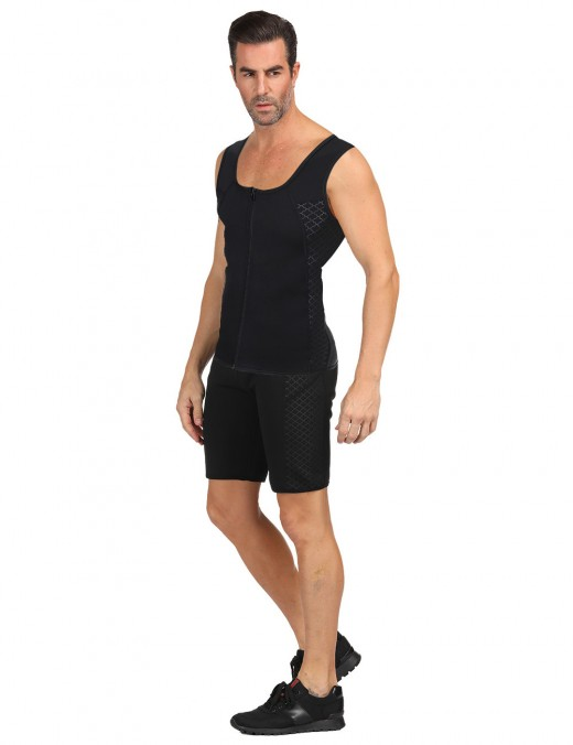 Shimmer Black Printed Men's Neoprene Shaper Plus Size Shorts Pocket Hourglass