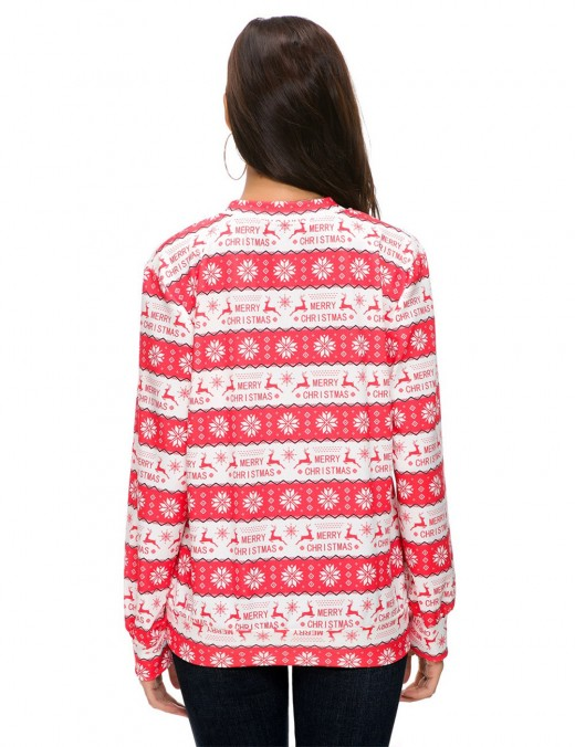 Picturesque Christmas Pattern Shirts Long Sleeves Loose
