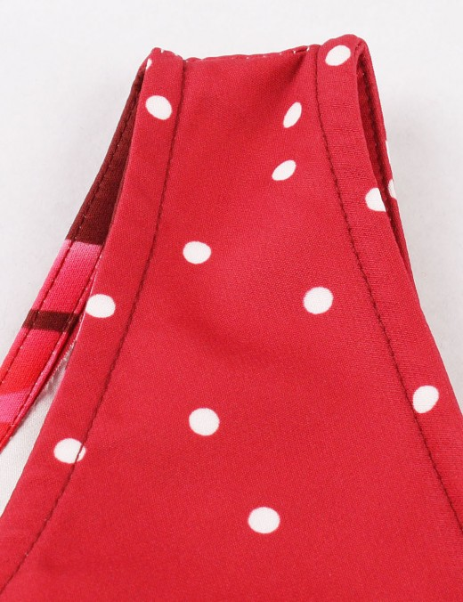 Supper Fashion Wine Red Big Size Dots Printing Vintage Dress Zip Women's