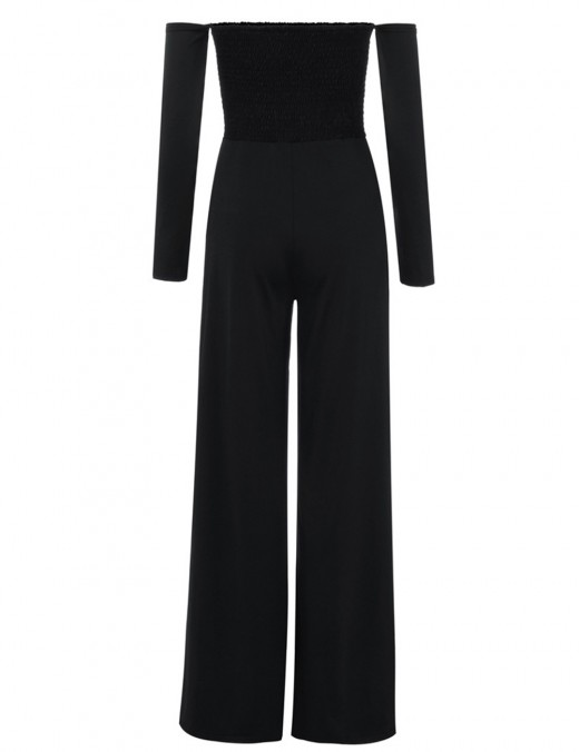 Refresh Black Plain Full Sleeve Ruched Rompers Slits Ladies Elegance