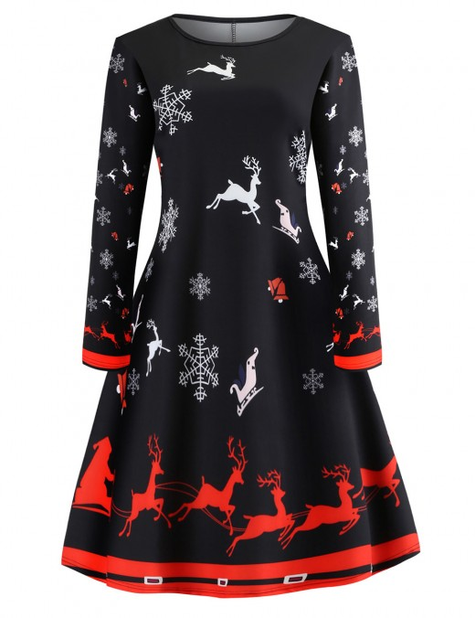 Inviting Christmas Pattern Skater Dress Full Sleeves All Over Smooth