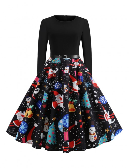 Smooth Black Xmas Printed Skater Dress Invisible Zipper Wedding Trip