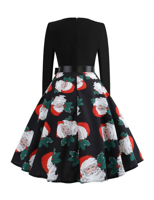 Entrancing Santa Claus Print Dress Bow Tie Zipper Casual Fashion