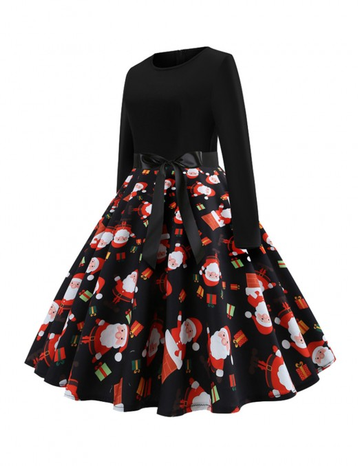 Sheath Santa Claus Printed Skater Dress Patchwork Dress For Women