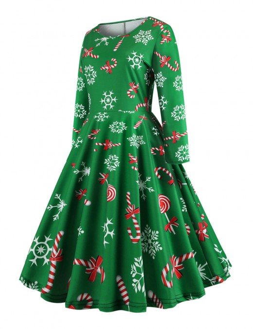 Natural Green Xmas Pattern Swing Dress Knee Length Zip Fabulous Fit
