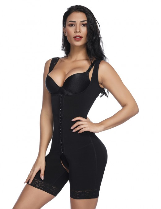 Traditional Black Hooks Eyes Body Shapewear Big Size Open Crotch Secret Slimming