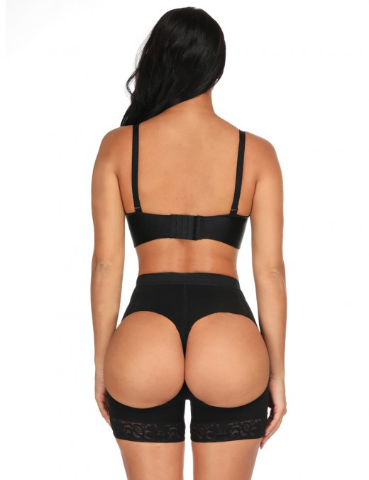 Stylish Black Anti-Curling Butt Lifting Panty Lace Hemline Curve Shaping