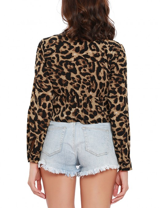 Romans Ruffles Front Knot Cropped Blouse Leopard Printing Home Clothes