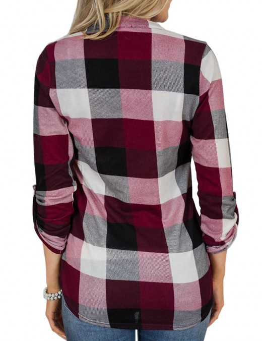 Catching Wine Red Roll-Up Sleeved Shirt Print Lattice Going Out Outfits
