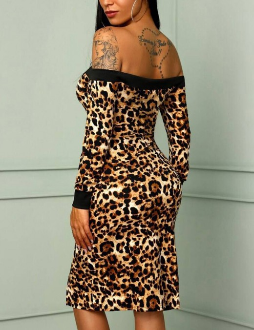 Glitzy Off Shoulder Midi Bodycon Dress Slit Leopard Zipper Ideal Choice