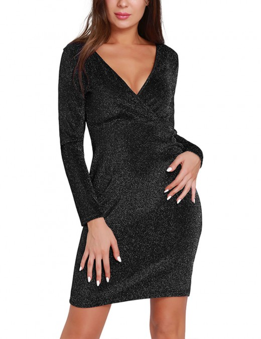 Striking Black Bling Bling Short Dresses V Neck Online Wholesale