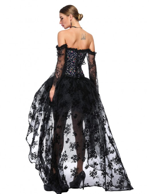 Flawless Flower Long Sleeves Corset Set Bare Shoulders Comfortable