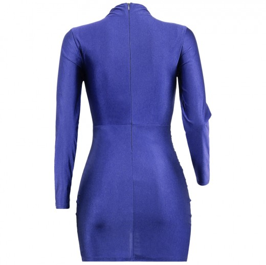 Stunning Blue Asymmetric Hem Bodycon Dress Long Sleeves Superior Quality