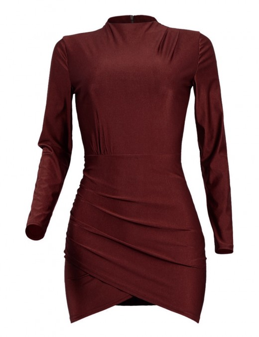 Shimmer Wine Red Full Sleeved Bodycon Dress Ruched Decor Luscious Curvy