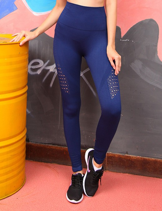 Svelte Navy Blue Ankle Length Knitted Legging High Waist Stretch