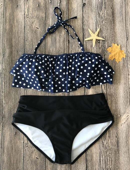 Uniquely Black Polka Dot High Waisted Ruched Bikinis Nice Quality