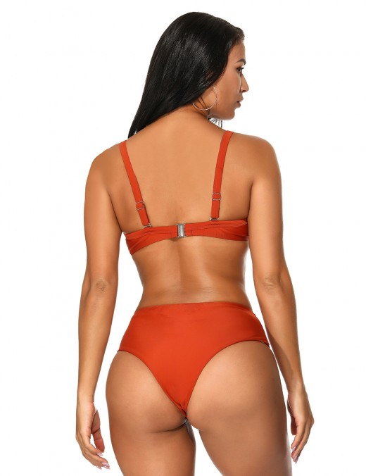 Vintage Dark Red Snap Closure Swimsuit High Cut Leg Sunshine Stunner