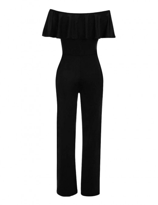 Fascinating Black Ruffles Wrap Jumpsuit Off Shoulder Ultra Cheap