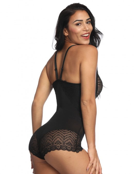 Slim Black Lace Bodysuit Shapewear Hooks Crotch Patchwork Supper Fashion