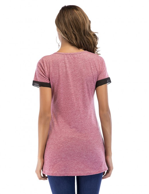 Individualized Pink Unsymmetrical Hem Top Short Sleeves Chic Trend